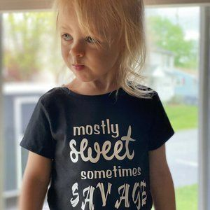 Mostly Sweet Sometimes Savage Kids Graphic Shirt